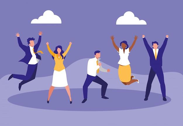 Empresarios exitosos celebrando personajes