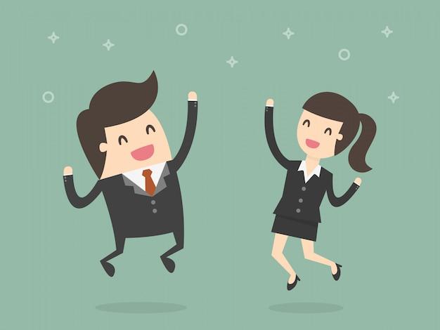 Empresarios felices saltando.