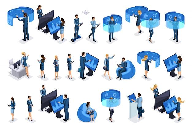Empresarios con gadgets, trabajan en pantallas virtuales, hermosos negocios. vista frontal y trasera. personajes de emociones para ilustraciones