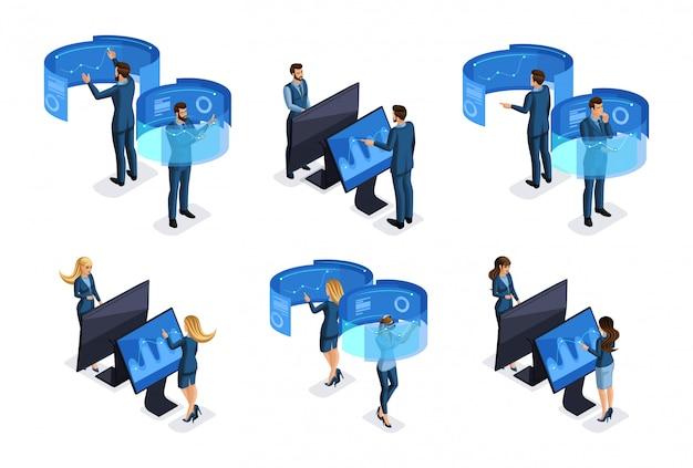 Empresarios con gadgets, trabajan en pantallas virtuales, hermosos negocios. vista frontal y vista trasera. personajes de emociones para ilustraciones