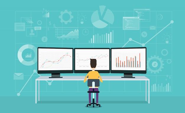 Empresarios en el gráfico de informe de monitor y analizar negocios