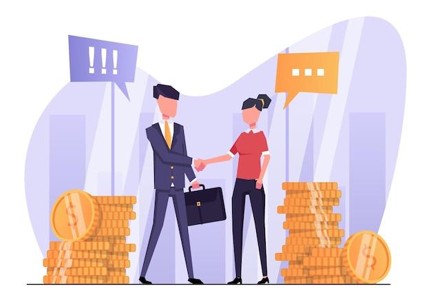 Los empresarios hacen un trato comercial