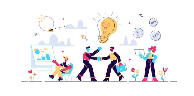 Empresarios haciendo un acuerdo. gestión de la marca. colaboración de la empresa. asociación y acuerdo, cooperación y trabajo en equipo, concepto de socios comerciales. ilustración creativa concepto aislado