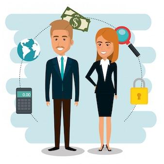 Empresarios con iconos de marketing por correo electrónico