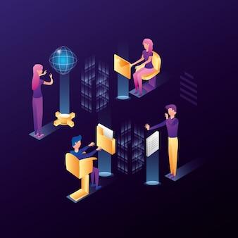 Empresarios con iconos de red de centro de datos