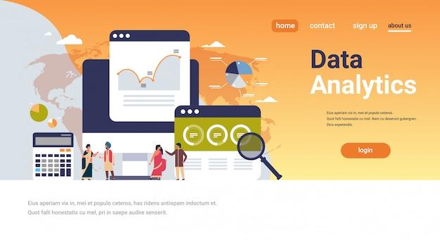 Empresarios indios gráfico diagrama finanzas datos análisis calculadora banner