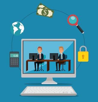 Empresarios informáticos con iconos de marketing por correo electrónico