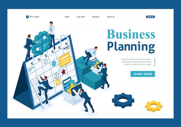 Empresarios isométricos hacen un plan de negocios para el próximo mes página de destino