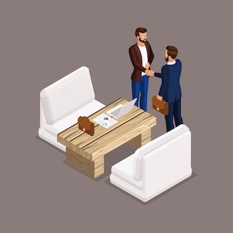 Empresarios isométricos, negociaciones, reuniones de negocios, la mesa de negociaciones.