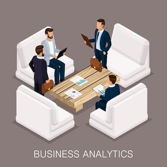 Empresarios isométricos, negociaciones, reuniones de negocios.