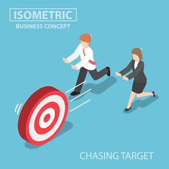 Empresarios isométricos persiguiendo el objetivo