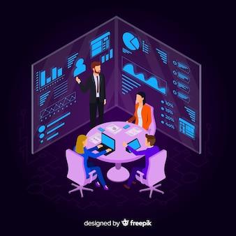 Empresarios isométricos en una reunión