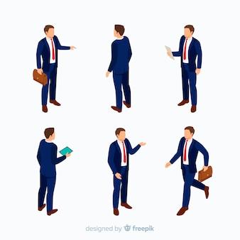 Empresarios isométricos en traje