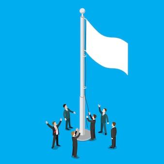 Empresarios levantando bandera blanca vacía en asta de bandera asta de bandera plana isométrica