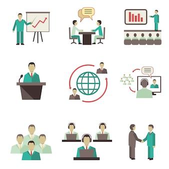 Empresarios en línea discusiones globales trabajo en equipo colaboración, reuniones y presentaciones.