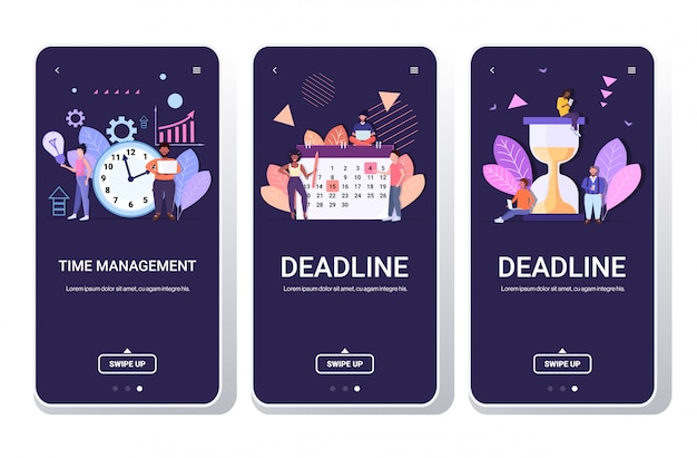 Empresarios lluvia de ideas mezcla raza colegas gestión eficaz del tiempo planificación eficiente equipo trabajando juntos pantallas de teléfonos inteligentes conjunto horizontal de longitud completa