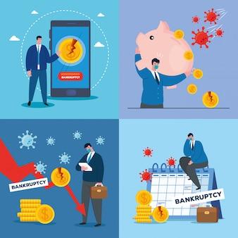 Empresarios con máscaras y conjunto de iconos de dinero de bancarrota