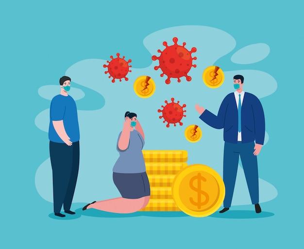Empresarios con máscaras y monedas rotas de quiebra