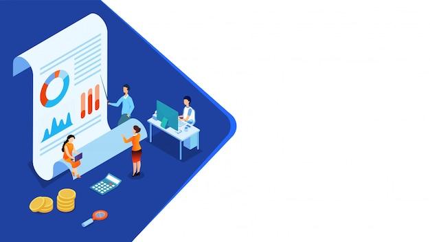 Los empresarios en miniatura en 3d mantienen los datos, informes y monedas para el análisis de datos.