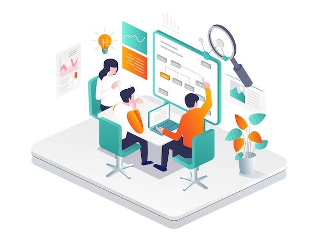 Los empresarios o inversores están discutiendo y compilando la estructura organizativa de la empresa.