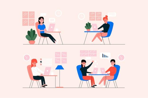 Empresarios oficiales hablando con compañeros de trabajo