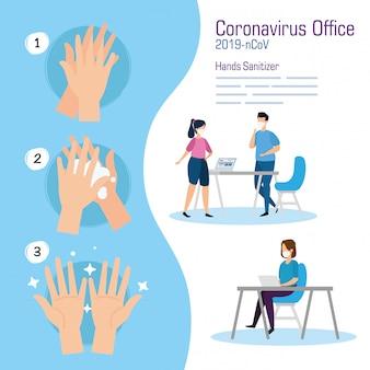 Empresarios en la oficina y desinfectante de manos