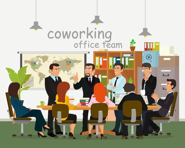 Empresarios en la oficina para una reunión, tormenta de ideas y discusión.