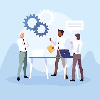 Empresarios en la oficina de trabajo, reunión sobre planificación global e investigación de mercado