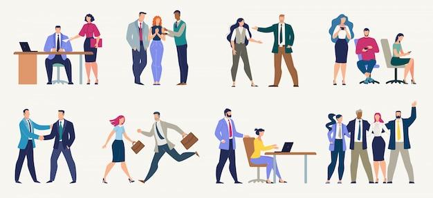 Empresarios, oficinistas conjunto plano
