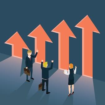 Empresarios de pie frente a la flecha de ganancias con concepto isométrico