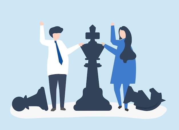 Empresarios con piezas de ajedrez gigantes.