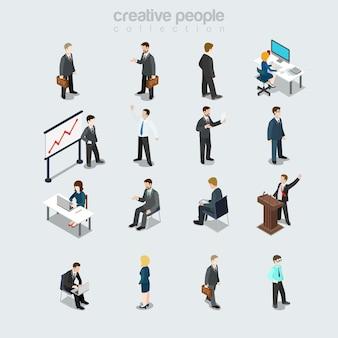 Empresarios planos isométricos diversos por trabajo, sexo, puesto y función en el lugar de trabajo establecido. los miembros de la sociedad variedad concepto de isometría 3d. jefe, gerente, secretaria y contable.