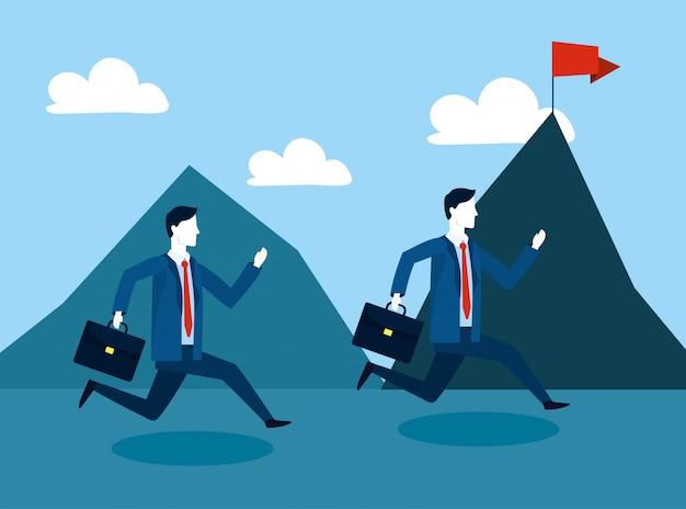 Empresarios profesionales con maletín y montañas con bandera.
