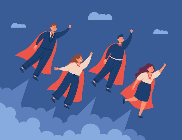 Empresarios profesionales masculinos y femeninos volando en capas