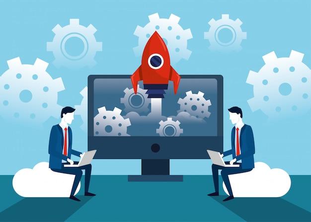 Empresarios profesionales con tecnología portátil y cohete.