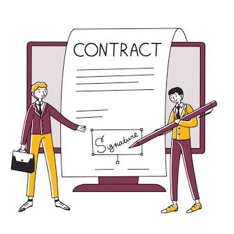 Empresarios que firman un contrato en línea con firma electrónica