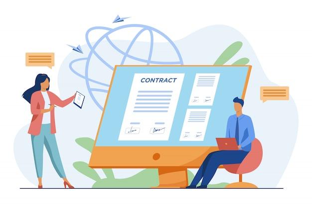 Empresarios que firman contrato en línea con señal electrónica