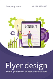 Empresarios que firman contrato con plantilla de volante plano de firma electrónica