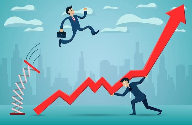 Los empresarios que saltan desde el trampolín a través de la flecha roja van hacia la meta del éxito.