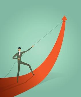 Los empresarios que tiran del gráfico de flecha van camino a la meta u objetivo