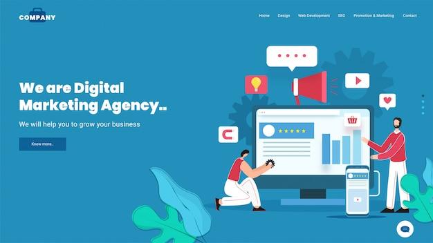 Empresarios que trabajan en la aplicación de agencia de marketing digital en computadora y teléfono inteligente.