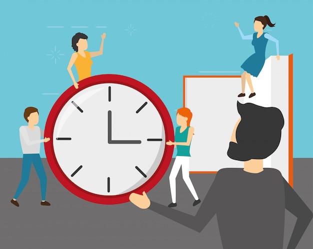 Empresarios con reloj y libro, estilo plano