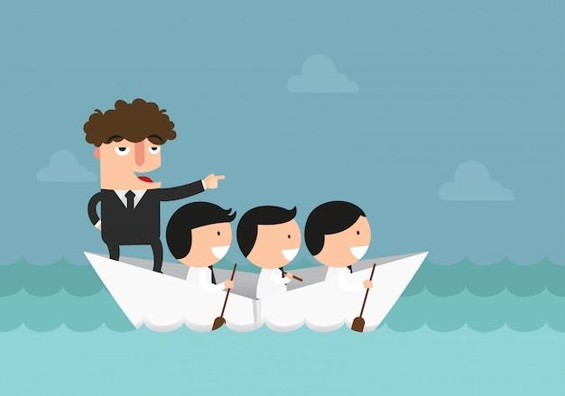 Empresarios remando el bote, el trabajo en equipo, el éxito, la ilustración del concepto de liderazgo.
