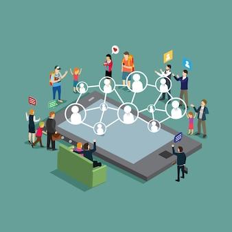 Empresarios reunidos con amistad en tecnología.