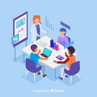 Empresarios en una reunión isométrica