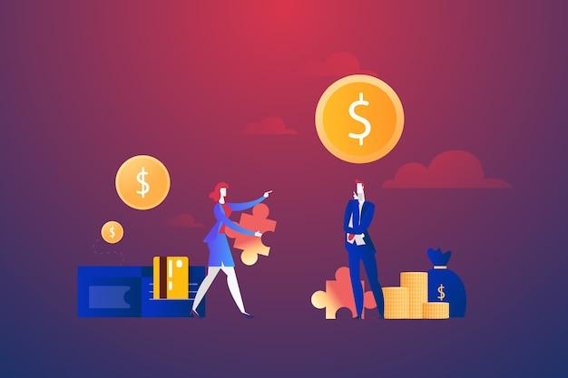 Empresarios con rompecabezas de dólar y dinero, concepto de resolución de problemas
