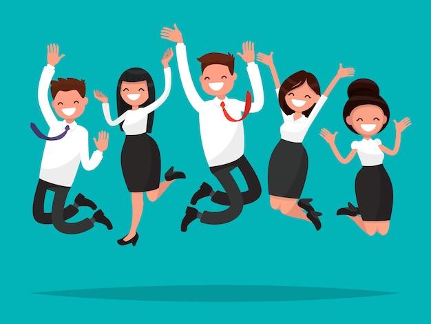 Empresarios saltando celebrando la ilustración de la victoria