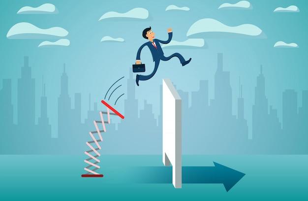 Empresarios saltando desde el trampolín a través de la pared van a la meta de éxito