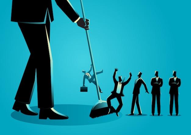 Empresarios siendo barridos por una escoba