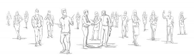 Los empresarios de la silueta estrechan la mano con el grupo de personas de negocios en el fondo empresarios que sacuden las manos banner horizontal